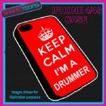 FITS IPHONE 4 / 4S PHONE KEEP CALM IM A  DRUMMER PLASTIC COVER COOL GIFT RED